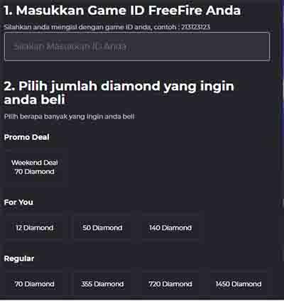 Game free fire 70 diamond diskon