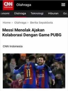 Messi Menolak PUBG Untuk berkolaborasi