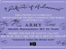Sertifikat Army BTS